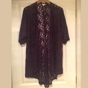 Lularoe Lace Sheer Purple Open Front Cardigan.